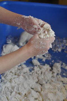 "Corn starch and shaving cream. Kids loved this and searched for ""hidden"" treasures."