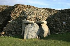 The Cairn of Barnenez (4850 BC) is a Neolithic monument located in Brittany, France. It is considered one of the earliest megalithic monuments in Europe. It is also remarkable for the presence of megalithic art. The Barnenez cairn is 72 m long, 25 m wide and over 8 m high. It is built of 13,000 to 14,000 tons of stone. It contains 11 chambers entered by separate passages.