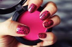 #nails #blush #pink #black #pattern