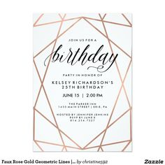 30th birthday invitation modern faux gold foil hello 30 thirty faux rose gold geometric lines birthday party card stopboris Images