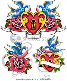 Tattoo Old School Rose Vintage Flash Art Ideas Art Flash, Tattoo Flash Art, Retro Tattoos, Diy Tattoo, Tattoo Set, Body Art Tattoos, New Tattoos, Tatoos, Arabic Tattoos