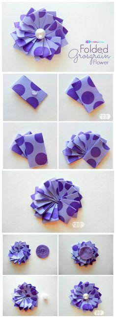 Folded Grosgrain Flower - The Ribbon Retreat Blog