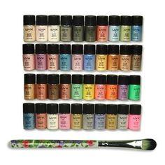 NYX Cosmetics Loose Pearl Eye Shadow Glitter Eye Shadow 40pc Set with Free Eye Shadow Brush hair-and-beauty