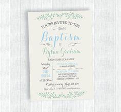 Baptism boy invitation printable Invitation by MomentiDesignStudio