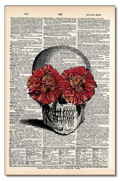 A vintage dictionary page turned into an interesting wall hanging. The pages are from dictionaries that are 100 years old. Flower Eyed Skull by Modern History Collection. Home & Gifts - Home Decor - Wall Art North Dakota