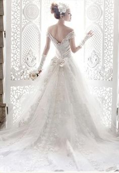 French Lace Off shoulder Sequin Chapel Wedding Dress