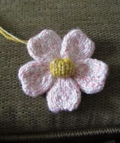 Free Knitting Pattern for Five Petal Flower