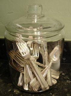 We thought we& share with you our tried-and-true method -- call it the lazy person& way -- of keeping our vintage silver tarnish-free.How To: Keep Silver Tarnish-Free- I am going out now to look for a silverware sized jar. Need to find one with a gasket, Silver Platters, Silver Trays, Silver Spoons, Vintage Silver, Antique Silver, How To Clean Silver, Butler Pantry, Vintage Kitchen, Vintage Jars