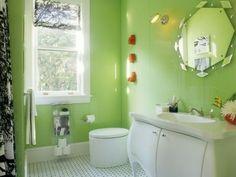 bunte Badezimmer Designs - blassgrüne Wände