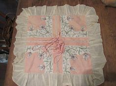 Vintage Ruffled Floral Pillow Cover Sham 1950's Batiste