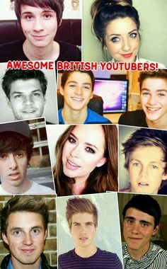 Awesome British Youtubers Collage!!!!!! <<<<< two things. Joey is American, Caspar is South African.