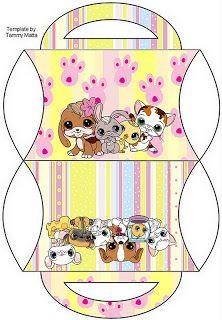 Pet Shop - Kit Completo com molduras para convites, rótulos para guloseimas… Little Pet Shop, Box Patterns, Barbie Patterns, Paper Doll House, Paper Dolls, Diy Paper, Paper Crafts, Paper Box Template, Barbie Miniatures