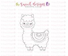 Llilla the Llama Alpacas, Felt Patterns, Embroidery Patterns, Drawing For Kids, Art For Kids, Coloring Books, Coloring Pages, Cookie Decorating Supplies, Cute Drawings