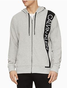 Plush stretch fabric brings premium comfort to this zip hoodie from Calvin Klein Performance. A bold logo adds signature flair. logo at front; Zip Hoodie, Grey Hoodie, Bold Logo, Lounge, Calvin Klein Men, Plus Size Activewear, Dresses With Leggings, Trendy Plus Size, Baby Clothes Shops