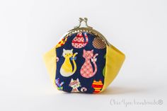 Cats coin purse, frame coin purse,cosmetic purse,money purse, money clip by Chic4youhandmade on Etsy