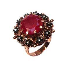 elmas ve kırmızı kuvars yüzük----rose cut diamond and red quartz ring