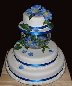separated wedding cakes   tier Round Cake with Fish Bowl and Blue Ribbon