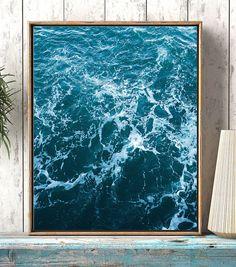 Ocean art print Wall art ocean waves Abstract coastal art
