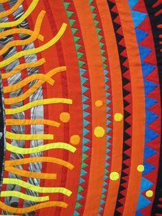 close up, reverse applique (mola) art quilt on a large scale, 2008 Tokyo quilt show. Photo by Oregon quilt Applique Quilts, Embroidery Applique, Fabric Painting, Fabric Art, Japanese Quilts, Reverse Applique, Textile Fiber Art, Contemporary Quilts, Learn Art