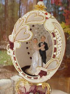 REAL Carved Decorated Rhea Egg Wedding Cake Topper Decoration Bridal Gift