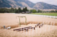 #wedding #ceremony #wheatfield #arbor #ceremonyseating #benches #barnwedding #vintage #rustic Ceremony Seating, Wedding Ceremony, Our Wedding, Wedding Ideas, Wedding Engagement, Engagement Ideas, Silver Sage, Sister Wedding, Wind Turbine