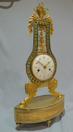 Antique French Louis XVIth period Lyre Clock. ca.1785.