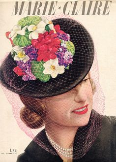 An eye-catching wonderful vintage floral hat on the cover of Marie Claire magazine. #vintage #hats #spring