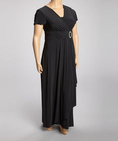 Take a look at this Black Ruched Surplice Maxi Dress - Plus by R&M Richards on #zulily today!