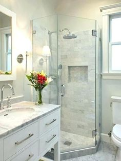 Tiny bathroom with shower remodel small bathroom with shower corner shower small transitional gray tile and Small Bathroom Layout, Small Bathroom With Shower, Bathroom Design Layout, Simple Bathroom, Bathroom Interior Design, Bathroom Ideas, Master Bathroom, Modern Small Bathroom Design, Small Elegant Bathroom