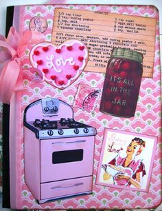 Retro Kitchen Recipe Cookbook Journal Notebook by sassysadielee
