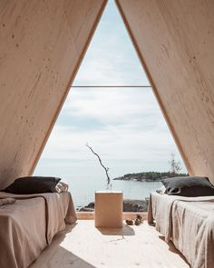 Morning glow ☀️ Located on Vallisaari Island in Finland just outside Helsinki city center, this summer cabin is designed for a simple lifestyle with minimum to no emission. Interior Design Examples, Interior Design Inspiration, Decor Interior Design, Design Ideas, A Frame Cabin, A Frame House, Helsinki City Center, Cabin Design, House Design