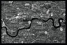 Image of Literary London Map (Metallic Silver & White) - created by graphic artist Dex in collaboration with interior designer Anna Burles. Book Art, Just In Case, Just For You, London Map, London Poster, London Places, To Infinity And Beyond, Illustrations, So Little Time