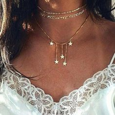 Bohemian style necklaces - Women's multilayer fivepointed star necklace – Bohemian style necklaces Cheap Choker Necklace, Layered Choker Necklace, Summer Necklace, Star Necklace, Necklace Types, Fashion Necklace, Fashion Jewelry, Women's Fashion, Fashion Dresses