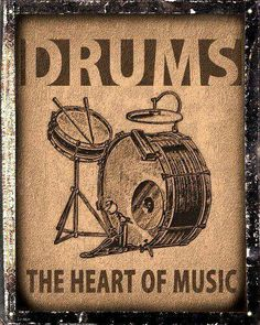 Drums set sign / Music Studio retro vintage wall decor by hodeac. For my music area Vintage Drums, Vintage Metal Signs, Vintage Stil, Retro Vintage, Drums Quotes, Arte Hip Hop, Drum Room, Drums Art, Guitar Art