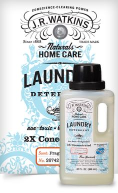 Liquid Laundry Soap - Clean your clothes using only 1 oz. per load of our ultra concentrated, J.R. Watkins Naturals Liquid Laundry Detergents. Wash the same number of loads using less than half the plastic of a 100 oz. detergent...