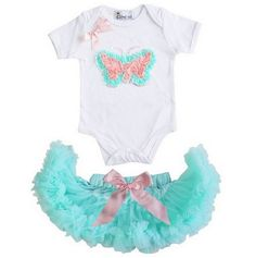 JU7DY008WZ3EB6B ~ Baby Mint Light Pink Bow Pettiskirt with Rosettes Butterfly White Short Sleeves Bodysuit