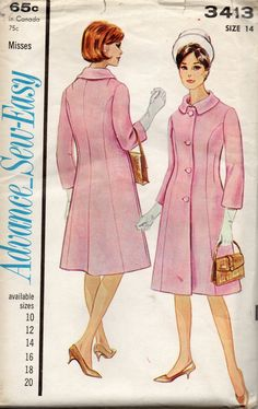 1960s Advance 3413 Misses Princess Seam Lined COAT Pattern Womens vintage sewing pattern by mbchills