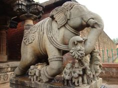 elephant sculpture in banavasi temple Human Sculpture, Rock Sculpture, Sculptures, Lion Sculpture, Elephant Sculpture, Elephants, Statue, Temple, Om