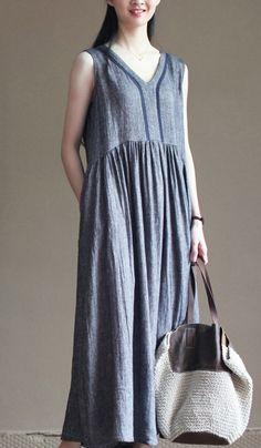 Summer linen dress 2016. Sleeveless linen sundress gray long summer maxi dresses cafan