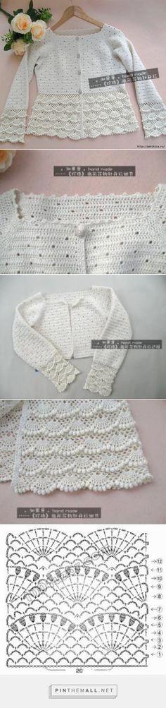 New Ideas Crochet Lace Jacket Crochet Bolero, Crochet Jacket, Crochet Chart, Crochet Cardigan, Crochet Stitches, Lace Jacket, Crochet Girls, Crochet Baby Clothes, Crochet Motif