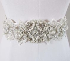 Crystal And Pearl Wedding Sash