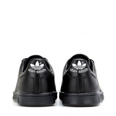 Adidas by Raf Simons Stan Smith Leather Sneakers (290 AUD) ❤ liked on Polyvore featuring shoes, sneakers, black leather shoes, adidas footwear, genuine leather shoes, adidas sneakers and black sneakers