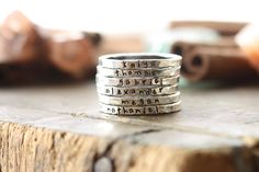 Personalized stackable stacking rings...hand stamped fine silver stacking rings. by cinnamonsticks on Etsy