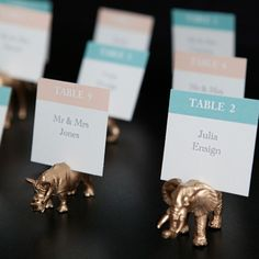 Gold animal table placecards  http://somethingturquoise.com/2013/08/02/diy-gold-painted-toy-animal-escort-cards/