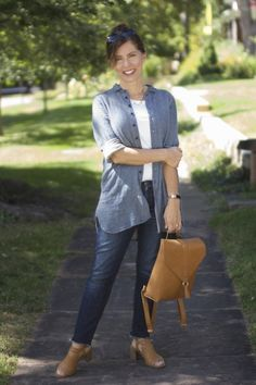 Style for over 35 Double Denim, Love Clothing, Light Denim, American Made, Looking For Women, Summer Collection, Chambray, Clothes For Women, Stylish