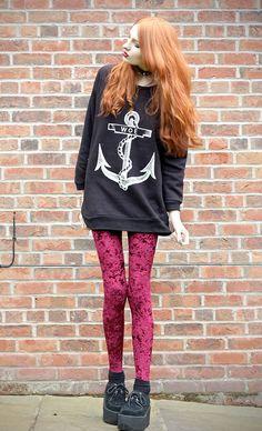 Woe anchor sweatshirt with Velvet leggings & Triple Creepers shoes