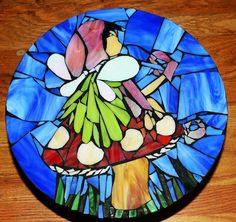 Winged Fairy or Pixie on a Mushroom Hand Cut Stained Glass Mosaic on Etsy, $200.00