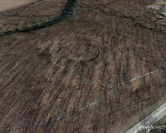 Aerial photo of the large earthen sun temple-henge at Mounds State Park in Anderson, Indiana