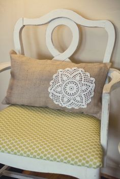 Burlap Lumbar Pillow with Crochet doily by coastline on Etsy