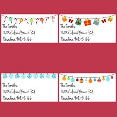 christmas return address labels by Labelin on Etsy Custom Return Address Labels, Christmas Return Address Labels, Return Labels, Custom Labels, Christmas Themes, Texts, Packaging, Touch, Stickers